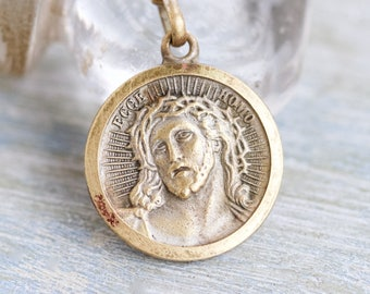 Jesus Medal Necklace - Brass Medallion on Chain - Souvenir from Fatima Portugal - Vintage religious Icons