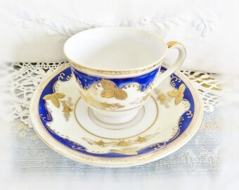 Small Demitasse Occupied Japan Vintage Chugai China SMALL Teacup and Saucer, Cobalt Blue and Gold, 1946 - 1952