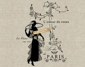 French Lady with Roses. Instant Download Digital Image No.396 Iron-On Transfer to Fabric (burlap, linen) Paper Prints (cards, tags)