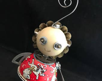 Baby Girl Bot - found object robot sculpture assemblage by Cheri Kudja with Bitti Bots