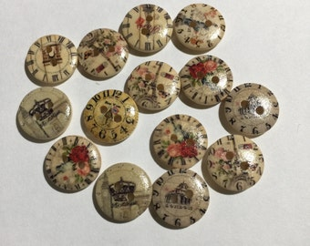 Novelty Wooden Vintage Clock Button Set, Embellishments, Sewing, Scrapbooking, Journaling, Arts And Crafts