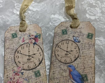 XL Gift Tag Set French Collage Clock And Bird ( Set of 6 ) Notecards, Stationery, Scrapbooking, Journals, Gift Item, Gift Wrapping