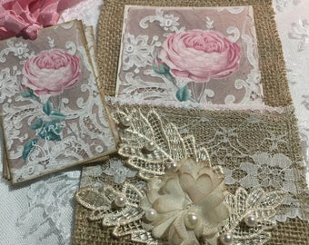 Exclusive French Rose Burlap Pocket and ( Set of 8 ) Gift Tags, Stationery, Scrapbooking, Journals, Gift Item, Gift Tag Holder
