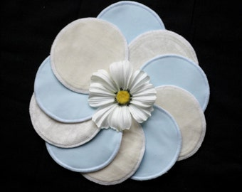 Nursing pads - LIGHT BLUE - Organic Bamboo Velour and PUL - Ready to ship
