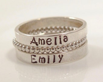 Sterling silver Stackable Rings with Beaded spacer Ring -SET OF 3- Personalized- Hand Stamped Ring-Size 5, 6, 7, 8, 9, 10