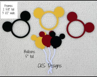 Die Cut Disney Mickey Mouse Balloons & Frames Premade Paper Piecing Embellishment for Card Making Scrapbook or Paper Crafts