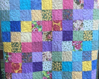 Mother's Day Gift Patchwork Quilts - Patchwork Lap Quilts - Traditional Quilts - Floral Lap Patchwork Quilts - Custom Lap Size Quilts