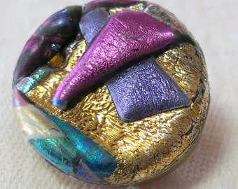 """3 Button covers, vintage, made of Fimo, all different, 2 round 0.75"""" ins, 1 diamond shape 1.10"""" long, glitter, fun pieaves. UNK16.3-3.27-5."""