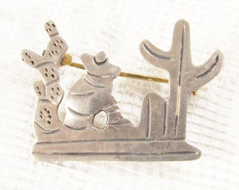 Early Vintage Sterling Cactus Mexican Man Brooch Mexico Silver 925 mark