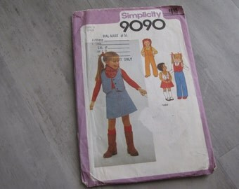 Vintage 1979 Child Western Skirt, Vest and Pants Pattern - Simplicity 9090  Size 3 - Toddler