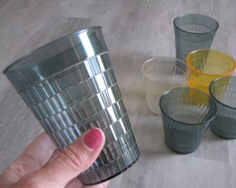 Vintage Plastic Drinking Glasses - Set of Six 6