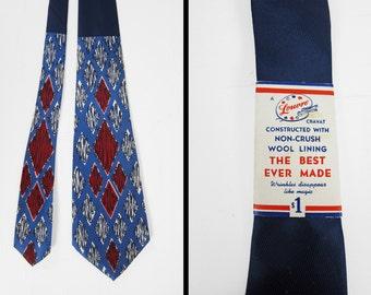Vintage 1940s NOS Necktie Blue Crosshatch Deadstock Men's Tie Rayon Louvre Cravat