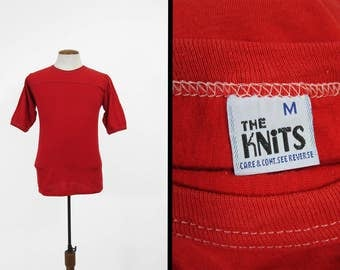 Vintage The Knits T-shirt Jersey Red 1980s Ringer Shirt Made in USA - Small