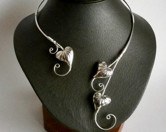 Heart Necklace, Statement Necklace, Collar  Necklace, Silver Necklace, Open Necklace , Bridal Jewelry, Elven Necklace