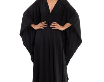 Black Maxi Dress - Kaftan Kimono Butterfly Dress: Funky Elegant Collection No.1s