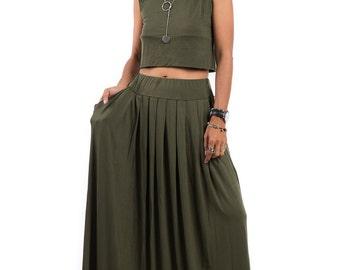 Maxi Skirt - Khaki Green Skirt-  Long Khaki Skirt : Urban Chic Collection No.2