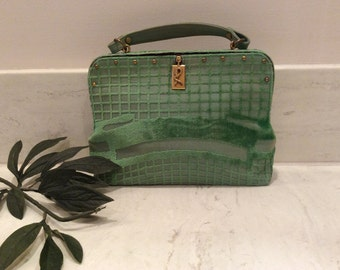 Vintage Nieman Marcus Green Tapestry Velvet Roberta Di Camerino Top Handle Purse  Handbag Made in Italy, Vintage  Designer Leather Purse
