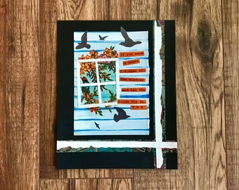 Birds, Collage Art, Collage, Mixed Media, Birds Fly In, Daily Collage, Original Art, Flying Birds
