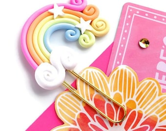 Kawaii Rainbow Planner Paper Clip | Polymer Clay Kawaii Rainbow Clouds Clip Book mark or Magnet | Novelty Gifts. Polymer Clay rainbow gifts