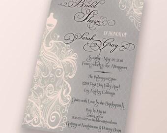 WEDDING DRESS INVITATION Pink Bridal Shower, Save the Date, Custom Invite