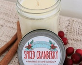 Spiced Cranberry Soy Wax Candle in 8 oz. Jelly Jar - Cranberry, Cinnamon, Christmas, Winter, Holiday, Housewarming, Home, Hostess Gift