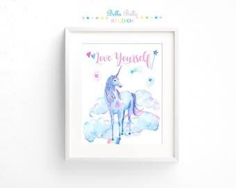 Unicorn ~ Love Yourself Print 8x10 ~ Printable Download