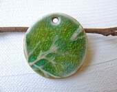 Forest Mist Green Branch Pendant Stoneware Clay