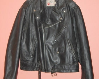 Sears Black Leather Motorcycle Vintage Jacket Made In USA Size 52 XL