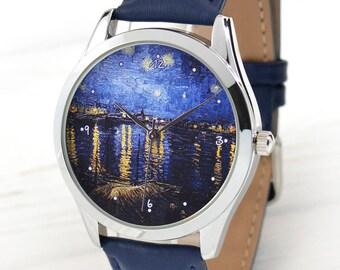 Van Gogh Art Watch   Starry Night   Art Gifts   Vincent Van Gogh   Art Jewelry   Anniversary Gift   Birthday Gift for Her   FREE SHIPPING