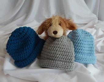 Baby Boy Winter Hat in Teal, Blue, Gray - Set of 3 - Newborn Infant