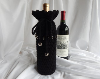 Wine Cozy - Crochet Wine Bottle Covers Sacks Gift Bags - Black with Silver Tone Charms