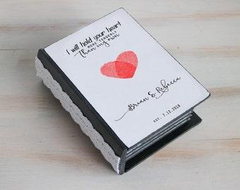Wedding ring box, Ring bearer box, Personalized wedding box Heart ring box Black ring box Ring bearer pillow Engagement box Custom ring box