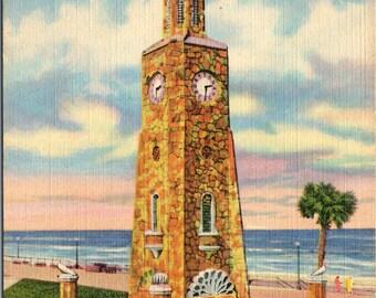 Daytona Beach, Florida, Clock Tower, Boardwalk - Linen Postcard - Postcard - Unused (B1)