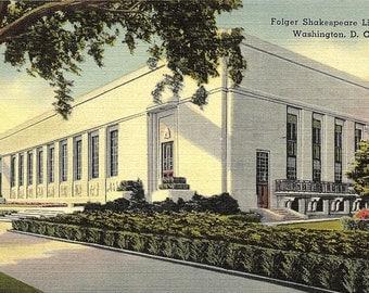 Washington D.C., Folger Shakespeare Library - Vintage Postcard - Linen Postcard - Unused (FF)
