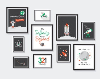 Outer Space Printable, Nursery Printables, Astronaut Gallery Wall, Kids Decor, Moon, Rocket, Telescope, Science, Galaxy, INSTANT DOWNLOAD