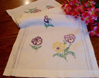 Linen Table Runner Embroidered Dresser Scarf Purple and Yellow Vintage Table Linens