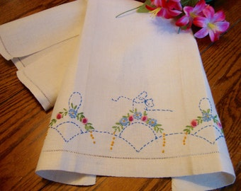 Embroidered Linen Towel Floral Embroidery Kitchen Towel Guest Towel Vintage Tea Towels