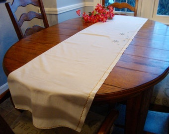 "Embroidered Table Runner Long Dresser Scarf Mantel Scarf 16"" x 68"" Vintage Table Linens"