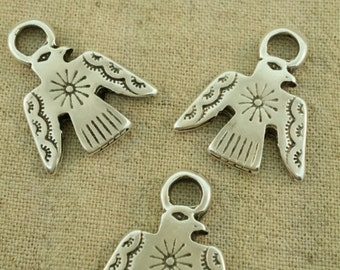 Southwest silver phoenix charm
