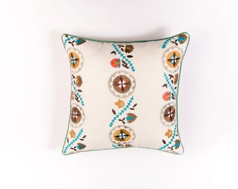Ikat and Suzani All Kalamkari Linen Pillow Cover