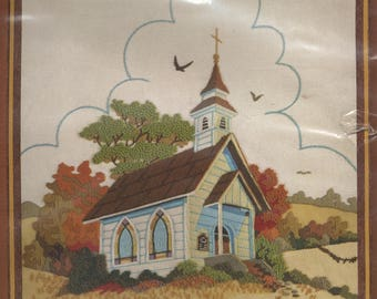COUNTRY CHURCH Crewel Embroidery Kit