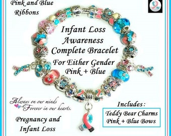 INFaNT LoSS Awareness Pregnancy Miscarriage ~ COMPLETE European Style Snake Chain Bracelet ~ PiNK & Blue Ribbon Charms + Bows on Teddy Bear