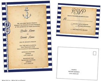 Customizable Anchor Wedding Invitation & RSVP Post Card  [Digital File ONLY]