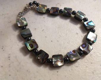 Hematite Bracelet - Abalone Gemstone Jewelry - Sterling Silver Jewellery - Gray - Beaded