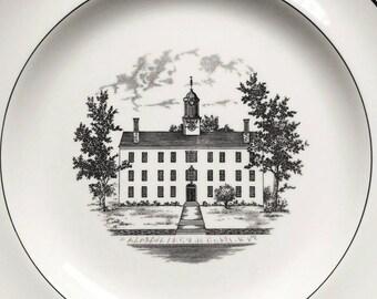 "Black transferware plate, Wedgwood, 1959 Ohio University, vintage luncheon plate Cutler Hall, 8 1/4"""
