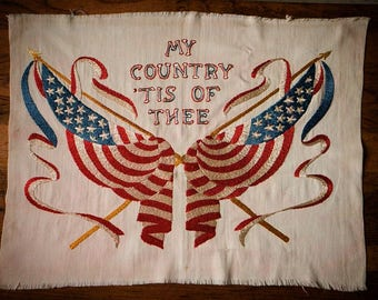"""Vintage Americana embroidery flags, red white and blue,  Memorial Day, US flags and banners """"My Country 'Tis of Thee"""" Patriotic display"""