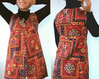 1960s Groovy Sleeveless India Mandala Floral Print Mini Dress XS