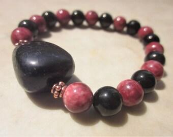 Shungite Thulite Lignite Bracelet