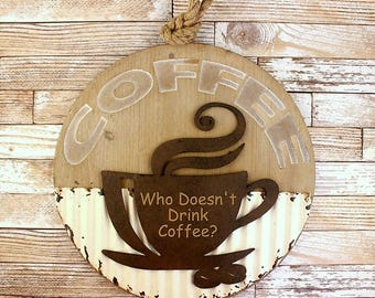 But Coffee First - Coffee Bar - Coffee Rustic Sign - Fixer Upper Decor - Coffee Lover Gift - Housewarming Gift - Coffee Bar Sign - Kitchen