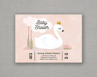 Baby Shower Invitation // Girl // Swan Princess // Pink
